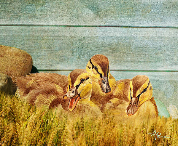 Painting - Wild Ducklings by Angeles M Pomata