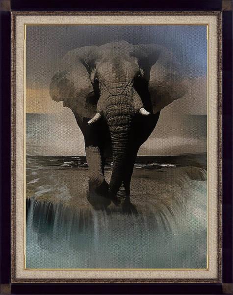Wild Elephant Montage Art Print