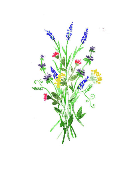 Painting - Wild Flowers Bouquet Watercolor  by Irina Sztukowski