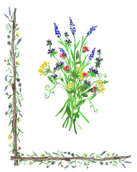 Flower Market Painting - Wild Flowers Decorative Watercolor by Irina Sztukowski