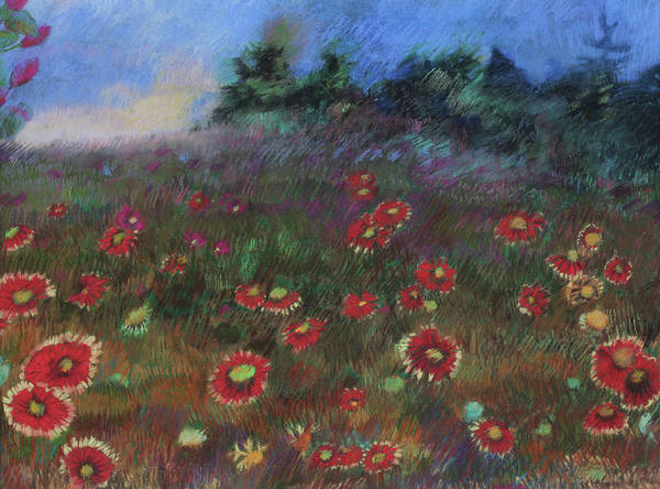 Wall Art - Pastel - Wild Flowers In The Wind by Janice Buehring
