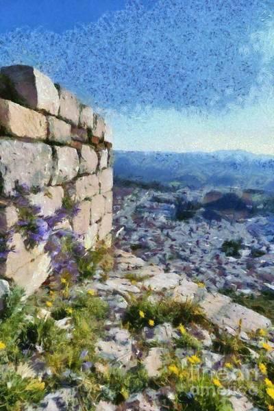 Peloponnese Painting - Wild Flowers On Loophole In Palamidi Castle by George Atsametakis