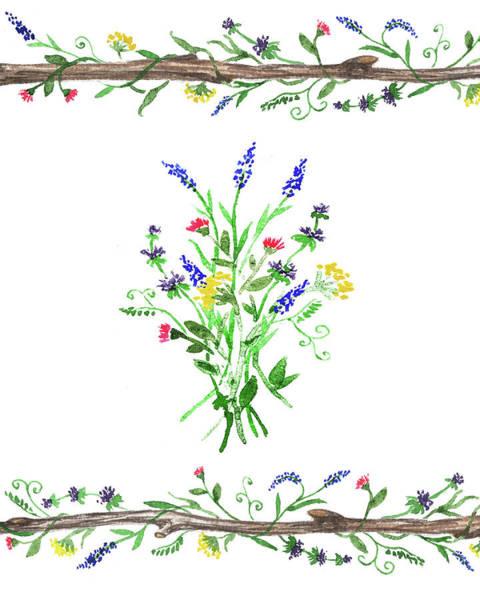 Flower Market Painting - Wild Flowers Watercolor Design by Irina Sztukowski