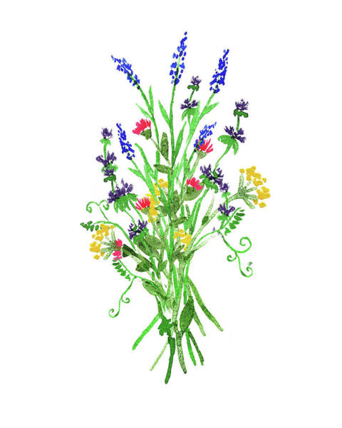 Painting - Wild Flowers Watercolour Bouquet  by Irina Sztukowski