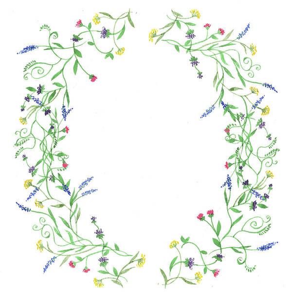 Flower Market Painting - Wildflowers Wreath Watercolor by Irina Sztukowski