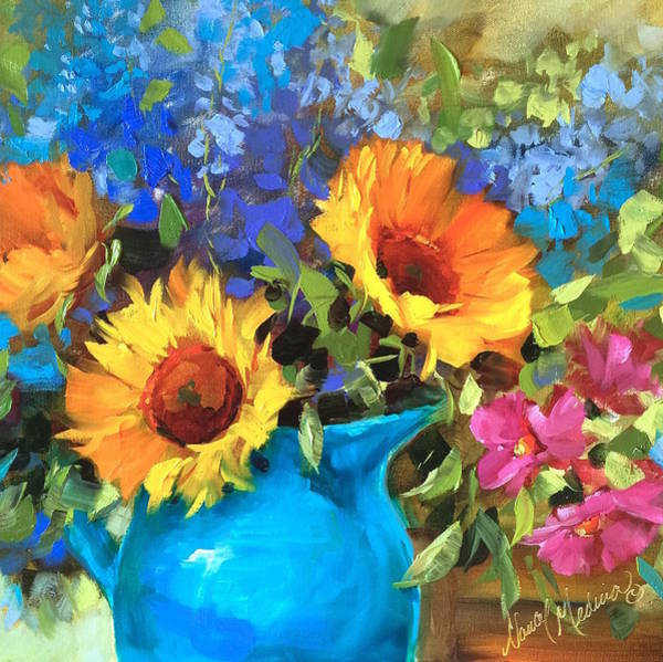 Wall Art - Painting - Wild Garden Sunflowers by Nancy Medina