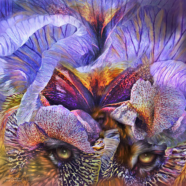 Purple Iris Mixed Media - Wild Goddess - Tigress by Carol Cavalaris