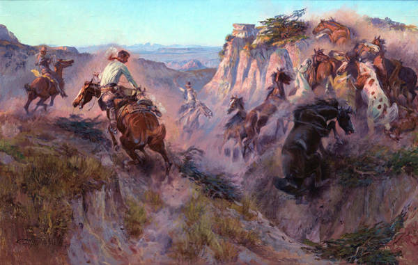 Herd Of Horses Wall Art - Painting - Wild Horse Hunters by Charles Marion Russell