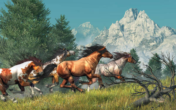 Wall Art - Digital Art - Wild Horses by Daniel Eskridge