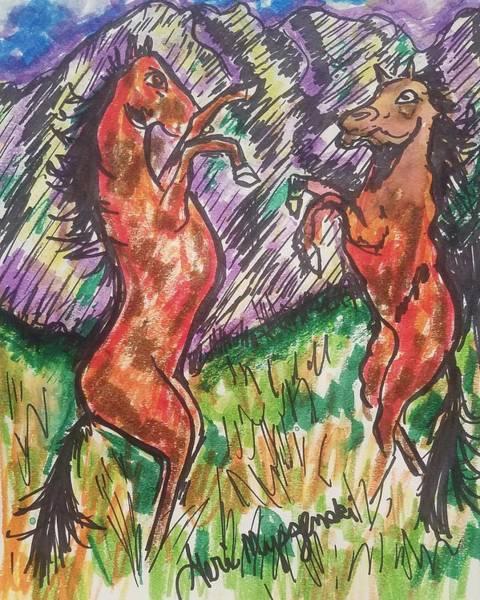 Beach Grass Drawing - Wild Horses  by Geraldine Myszenski