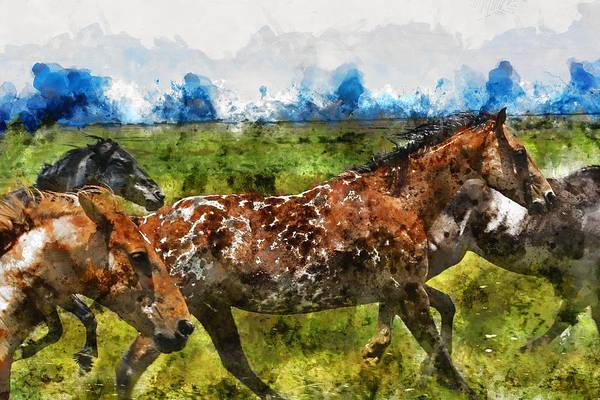 Wall Art - Mixed Media - Wild Horses Running by Kevin O'Hare