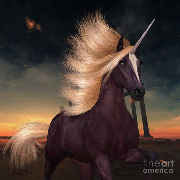 Unicorn Horn Digital Art - Wild Liver Chestnut Unicorn by Corey Ford