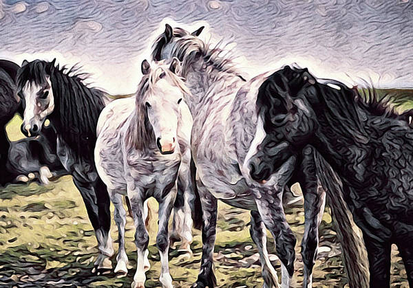 Mixed Media - Wild Mustangs by Susan Maxwell Schmidt