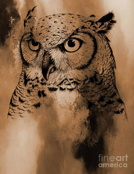 Wall Art - Painting - Wild Owl Eyes by Gull G