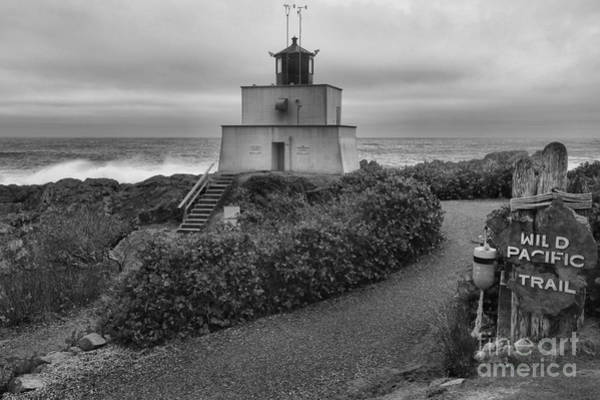 Photograph - Wild Pacific Trail Black And White Lighthouse by Adam Jewell