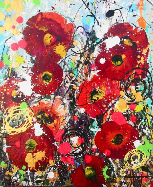 Wall Art - Painting - Wild Poppies by Angie Wright