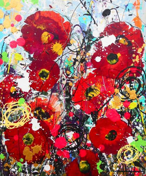 Wall Art - Painting - Wild Poppies Detail by Angie Wright