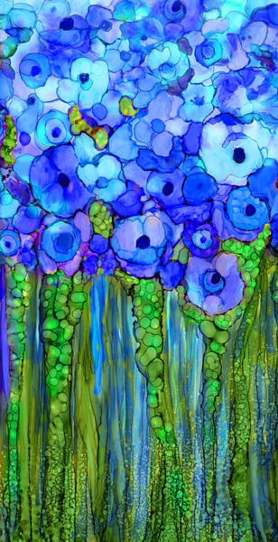 Mixed Media - Wild Poppy Garden - Blue by Carol Cavalaris