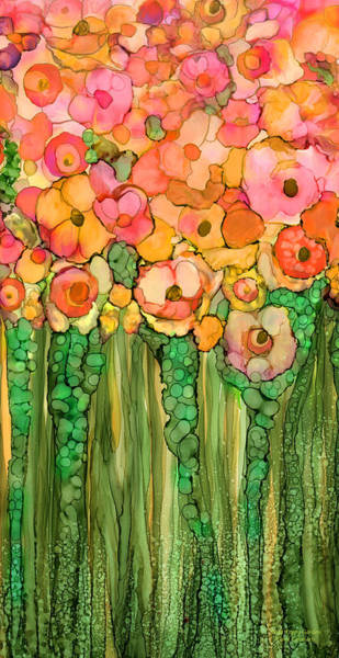 Mixed Media - Wild Poppy Garden - Gold by Carol Cavalaris