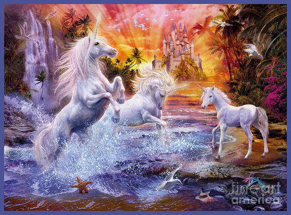 Wall Art - Digital Art - Wild Unicorns by MGL Meiklejohn Graphics Licensing