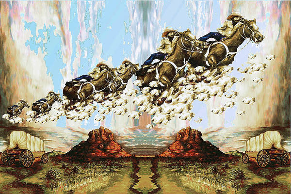 Painting - Wild West Sky Riders - Western Art Painting by Peter Potter