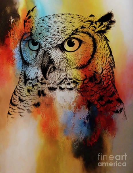 Wall Art - Painting - Wild Wild Owl by Gull G