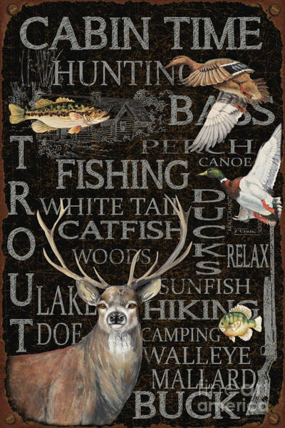 Trout Watercolor Wall Art - Painting - Wilderness Lodge-p2 by Jean Plout