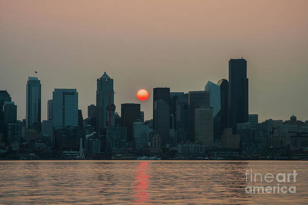 Wall Art - Photograph - Wildfire Haze At Sunrise Seattle by Mike Reid