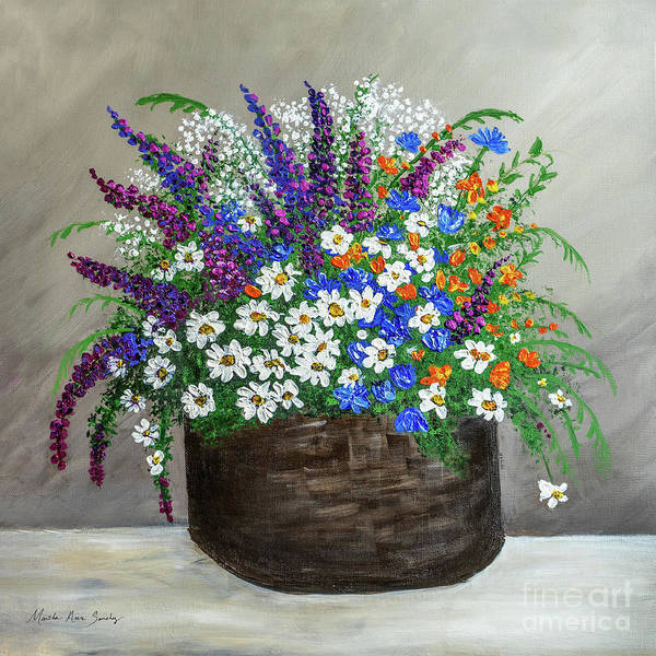 Painting -  Wildflower Basket Acrylic Painting A61318 by Mas Art Studio