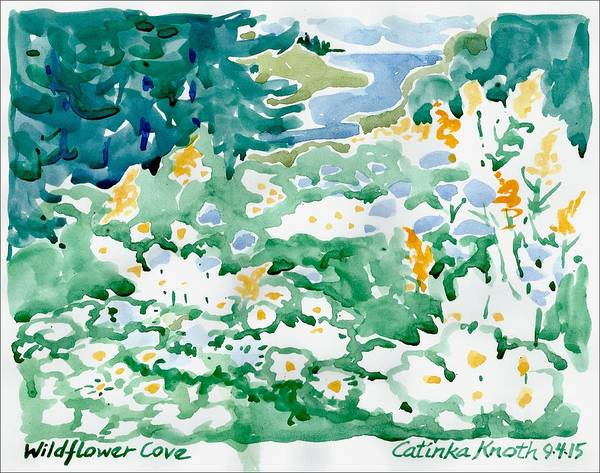 Painting - Wildflower Daisies Coastal Floral Landscape by Catinka Knoth