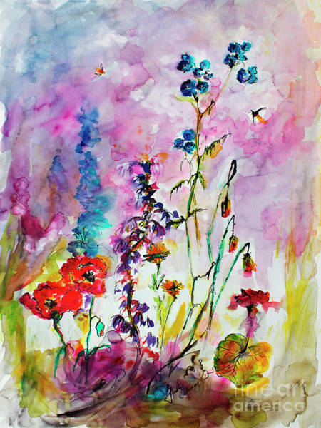 Painting - Wildflower Gathering Watercolor And Ink Painting by Ginette Callaway