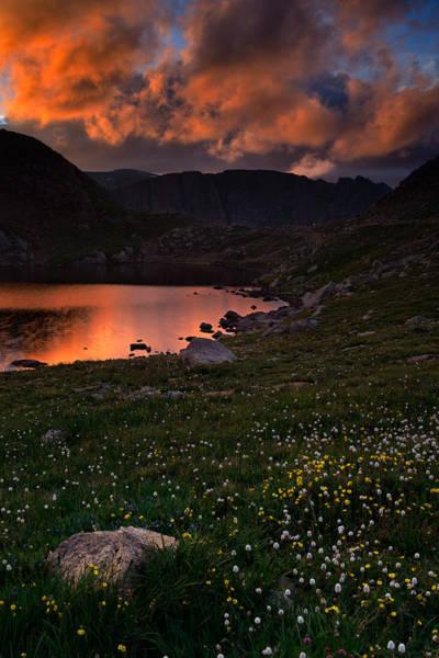 Fourteener Photograph - Wildflower Sunset At Summit Lake by Mike Berenson