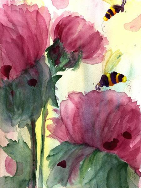Painting - Wildflowers And Bees by Dawn Derman