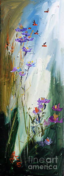 Painting - Wildflowers And Bees Oil Painting by Ginette Callaway