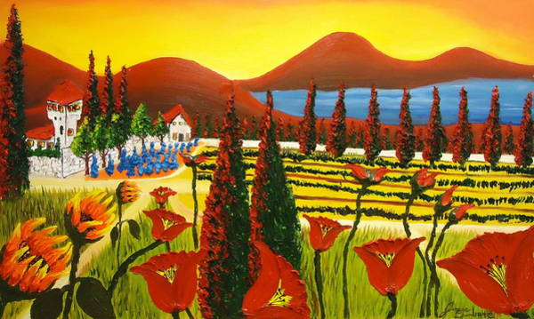 Wall Art - Painting - Wildflowers Of Tuscany 3 by Dunbar's Modern Art