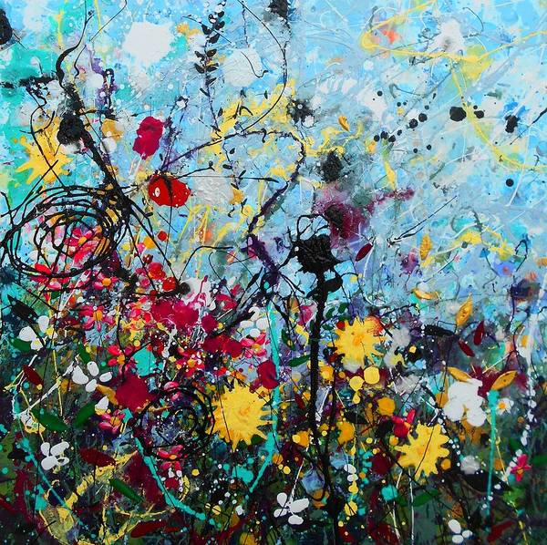 Wall Art - Painting - Wildflowers Panel1 by Angie Wright