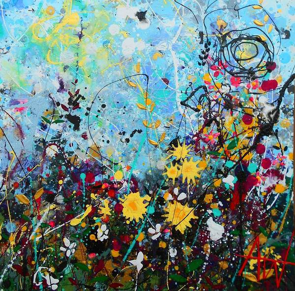 Wall Art - Painting - Wildflowers Panel3 by Angie Wright