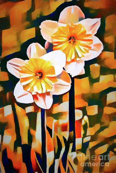 Photograph - Wildly Abstract Daffodil Pair by Anita Pollak
