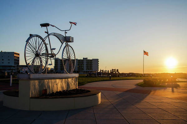Photograph - Wildwood Crest Bicycle Statue At Sunrise by Bill Cannon