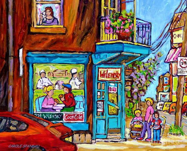 Painting - Wilensky Corner Diner Montreal In The Summer Street Scene Fun Canadian Scenes Carole Spandau         by Carole Spandau