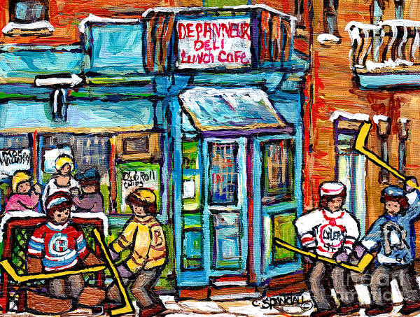 Painting - Wilensky Deli Montreal Winterscene Paintings For Sale 4 Hockey Jerseys Canadian Hockey Art C Spandau by Carole Spandau