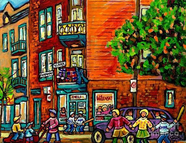 Painting - Wilensky Diner Little League Expo Kids Baseball Painting Montreal Scene Canadian Art Carole Spandau  by Carole Spandau