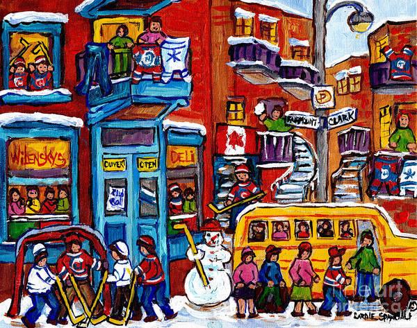 Quebec Flag Painting - Wilensky Winter Wonderland Kids Hockey Fun Canadian Painting Montreal Art City Scene Art C Spandau by Carole Spandau