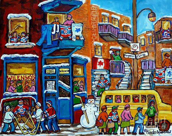Painting - Wilensky's Montreal Memories Yellow Schoolbus Snowman Staircase Hockey Art Carole Spandau by Carole Spandau