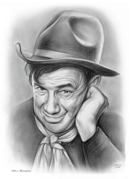 Drawing - Will Rogers 10aug18 by Greg Joens