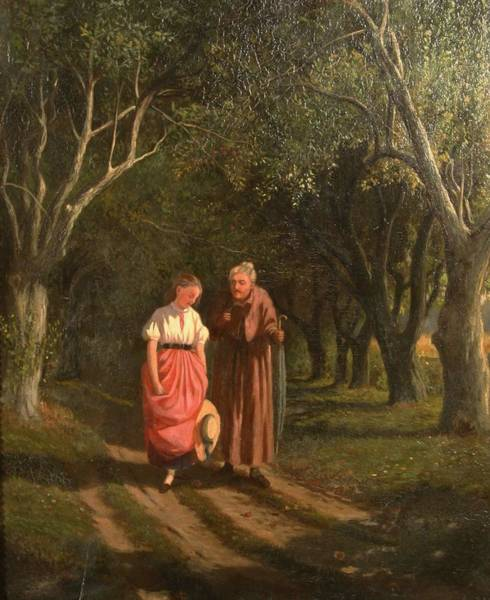 Painting - William De La Montagne Cary American 1840  1922 A Walk With Grandmother by Artistic Panda