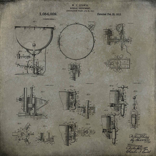Digital Art - William F Ludwig Kettle Drum Patent by Paulette B Wright