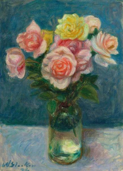 Painting - William Glackens 1870  1938 Roses  1936 by Artistic Panda