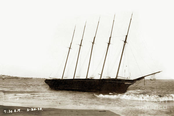 Photograph - William H. Smith Built 1899  Schooner, 5-masted Feb 24, 1933 by California Views Archives Mr Pat Hathaway Archives