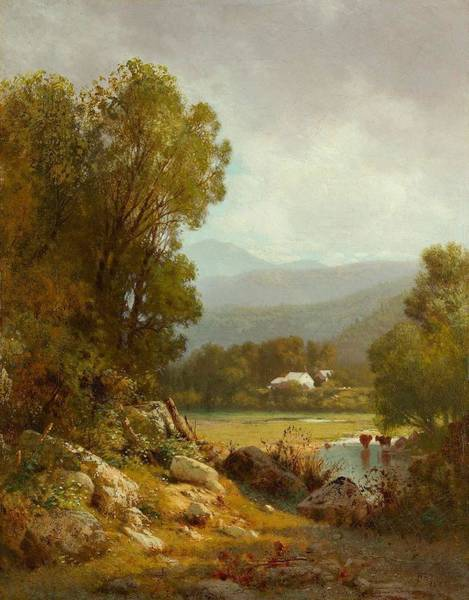 Painting - William Hart 1823  1894 Wooded Landscape, 1873 by Artistic Panda